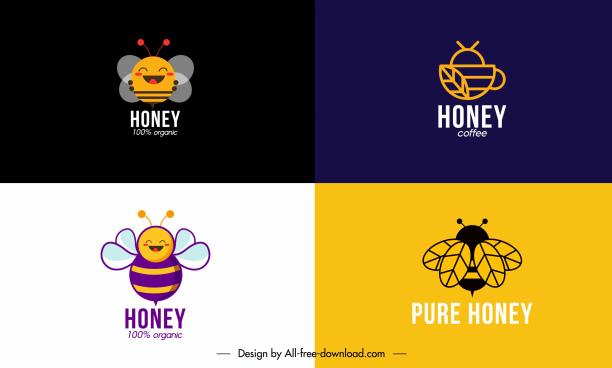 honey bees logotypes simple flat sketch
