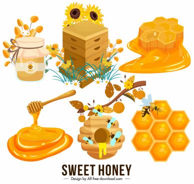 honey design elements colored 3d symbols sketch