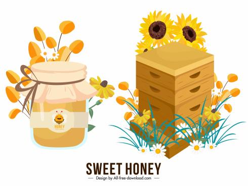 honey design elements colorful jar flowers honeycomb sketch