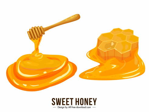 honey design elements melting droplets liquid sketch