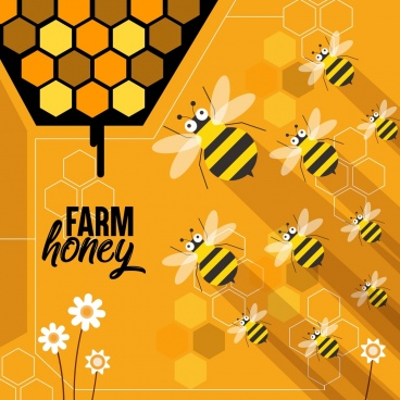 honey farm advertising bees icons orange yellow design