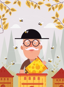 honey farm background man bees icons cartoon design