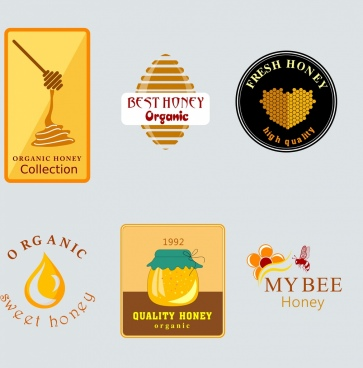 honey logotypes collection flat shapes decor