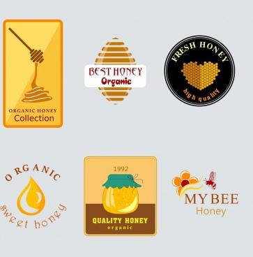 honey logotypes collection flat shapes decor