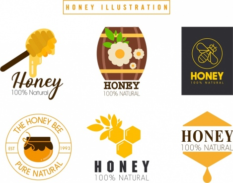 honey logotypes colored flat design