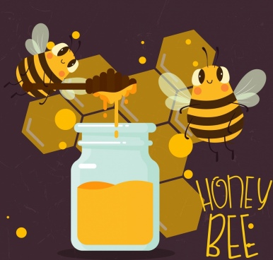 honey product advertising beehive jar stick icons decor