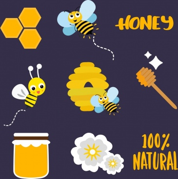 honey products design elements flat colored icons