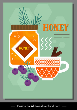 honey tea advertising poster classical flat design
