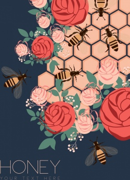 honeycomb background multicolored design rose bee icons