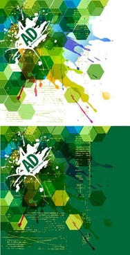 decorative background templates flat polygonal grungy inks sketch