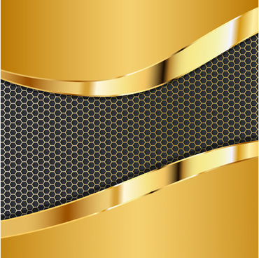 honeycomb pattern and gold background vector