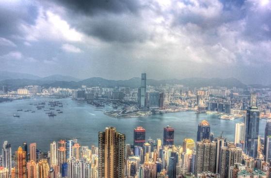 hong kong and sky in hong kong china