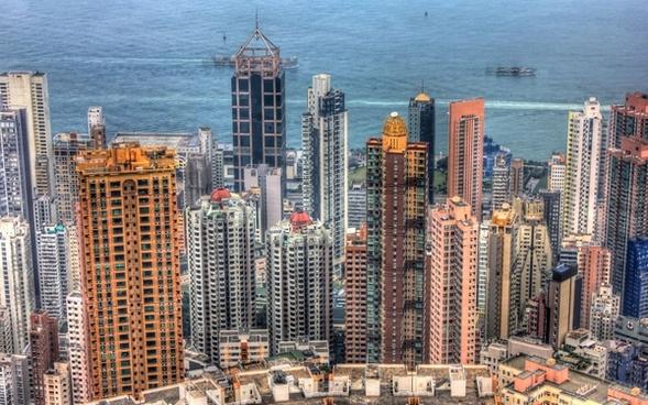 hong kong skyline in hong kong china