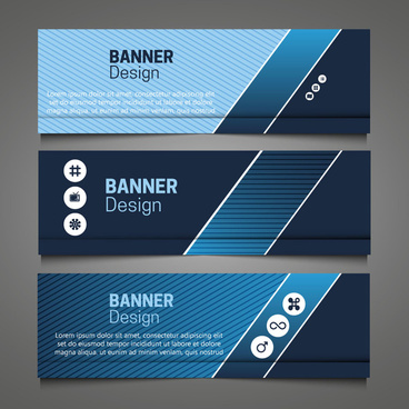 horizontal banner design sets with dark blue color