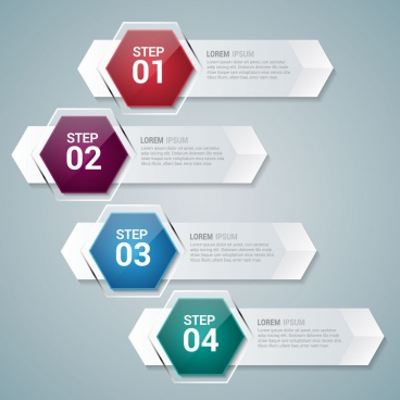horizontal infographic design shiny hexagon glass style