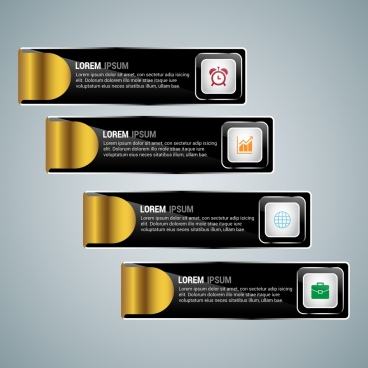 horizontal infographic template black and gold folding design