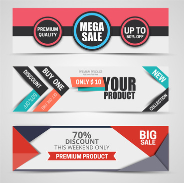 horizontal label sale promotion sets vector illustration