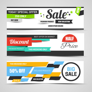 horizontal labels sale banners with modern design style