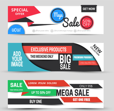 horizontal sale banners sets with modern style design