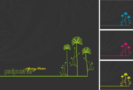 horizontal version of the tree backgrounds vector