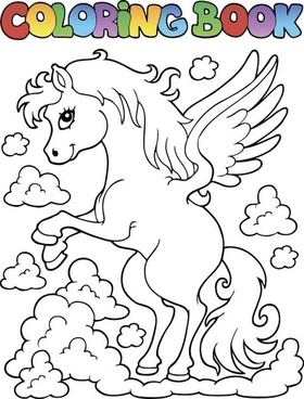 horned horse coloring picture cartoon vector
