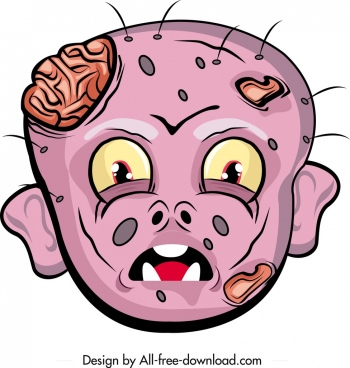 horrible halloween mask template injury face icon cartoon character