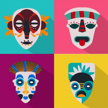 horror masks icons classical design