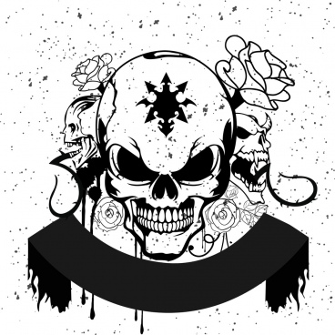 horror skull background black white design grunge style