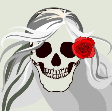horror skull background red rose ornament