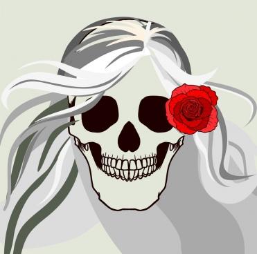 horror skull background red rose ornament