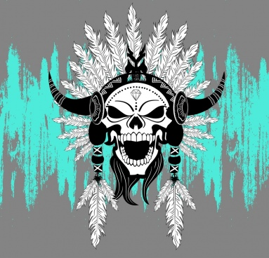 horror skull icon tribal decoration