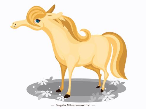 horse icon bright yellow design cartoon character
