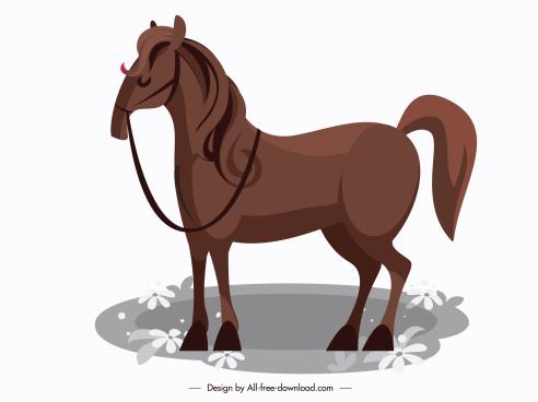 horse icon dark brown sketch