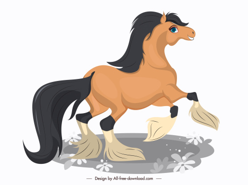 horse icon painting cute cartoon design motion sketch
