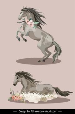 horse icons dynamic sketch handdrawn classic