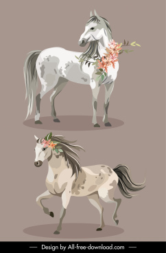 horse icons handdrawn grey sketch flower decor