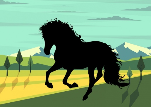 horse painting black silhouette icon