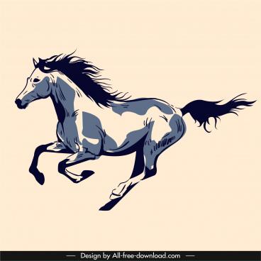 horse painting dynamic sketch vintage handdrawn sketch