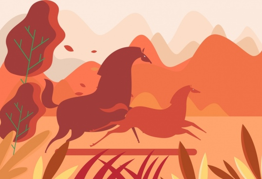horse painting flat dark red classical decor