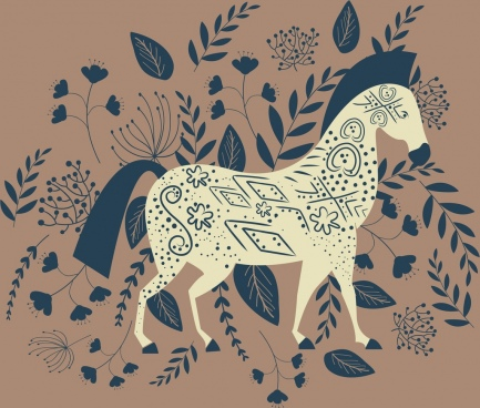 horse painting flowers leaves decor classical outline