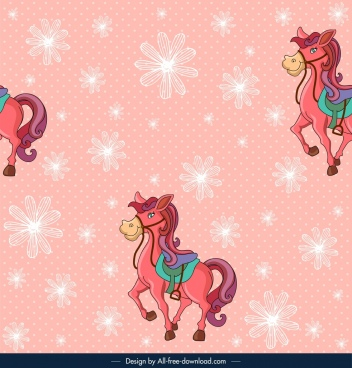 horse pattern template pink decor cute cartoon design