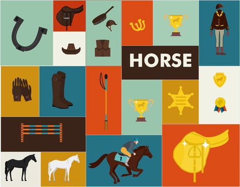 horse race design elements with tools and medals