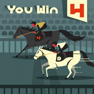 horse race painting classical cartoon sketch