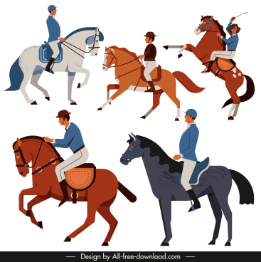 horse racer icons colored classic design