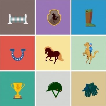 horse racing design elements colored symbols isolation
