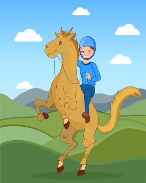horse ride painting colored cartoon character