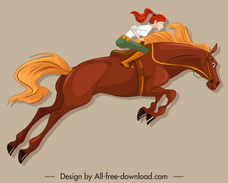horse rider icon motion sketch cartoon character