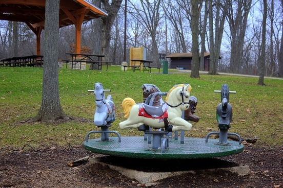 horse toy thing at a playground around black earth wisconsin