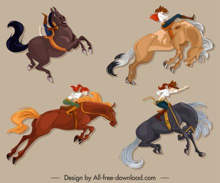 horseback icons motion design cartoon sketch