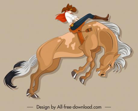 horseback performance icon dynamic design cartoon sketch